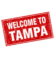 Tampa red square grunge welcome to stamp vector image