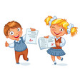 boys and girls showing perfect test results vector image