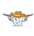 cowboy tooth character cartoon style vector image