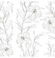 Floral seamless pattern with gentle lily flowers vector image