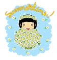 Girl with a bouquet of camomiles vector image