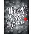 Happy New Year Lettering on silver bokeh retro vector image