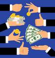 money gestures hands holding money dollars and vector image