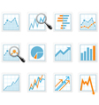 Statistics and analytics data icons with diagrams vector image
