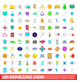 100 knowledge icons set cartoon style vector image
