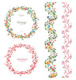 romantic floral collection vertical seamless vector image vector image