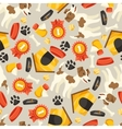 Seamless pattern with cute dogs icons and objects vector image vector image