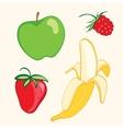 Fruit set Banana strawberry apple vector image