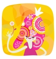 Yellow and pink princess portrait vector image