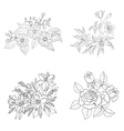 Cultivated flowers outline set vector image