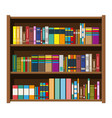 library book shelf bookcase with different books vector image