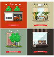 set of house square posters in flat style vector image