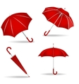 Red umbrellas set vector image