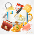 Items of business money gold coins vector image vector image