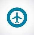 airplane icon bold blue circle border vector image