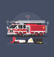 fire truck and equipment for fire extinguishing vector image