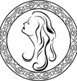 Girls profile in Celtic circle vector image
