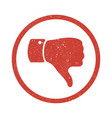 grunge thumb down symbol vector image