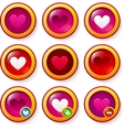 Set of red glass buttons with hearts vector image
