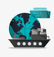 ship cargo container transport worldwide vector image