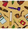 Smoking and tobacco pattern vector image