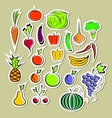 Stickers of vegetables and fruits vector image