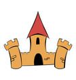 medieval castle fortress icon cartoon vector image