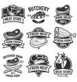 set of meat store labels butchery design elements vector image