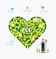 Ecology infographic green heart shape with farmer vector image