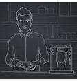 Man making coffee vector image