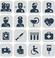 Doctor and Nurses icons on grey vector image
