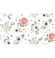 seamless pattern floral watercolor design garden vector image