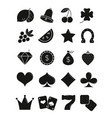 casino black sihlouettes icons set vector image
