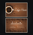 coffee visit card coffee design coffee day cup vector image