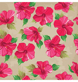 Floral seamless pattern with hibiscus hand-drawing vector image