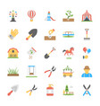 park and garden flat icons set vector image