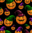 seamless pattern halloween pumpkin with hat vector image