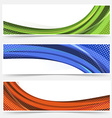 Wave line dotted web banners set vector image