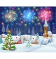house in snowy Christmas landscape at night vector image