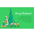 Christmas Elves packing presents near tree vector image