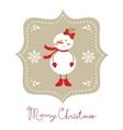 Cute snow girl Christmas card vector image