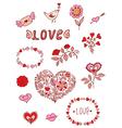 Set of floral romantic doodle elements vector image vector image