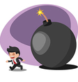 Business Man Worker Run away Bomb vector image vector image
