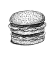 Black and white hand drawn sketchy sandwich vector image