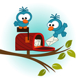 birds and mailbox with mail vector image