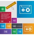 cassette sign icon Audiocassette symbol Set of vector image