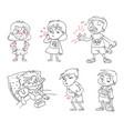 children get sick funny cartoon character vector image