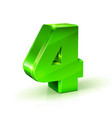 glossy green four 4 number 3d on vector image