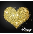 Heart of gold glittering star dust Love concept vector image