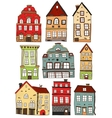 Set Of Hand Drawn Colored Buildings vector image